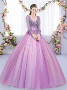 Fitting Lilac V-neck Neckline Lace and Appliques 15th Birthday Dress Long Sleeves Lace Up