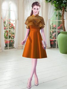 Deluxe Orange Prom Gown Prom with Lace High-neck Cap Sleeves Lace Up