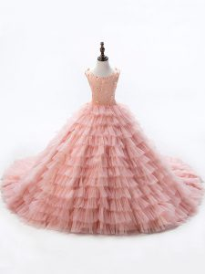 Scoop Sleeveless Child Pageant Dress Beading and Ruffled Layers Court Train Lace Up