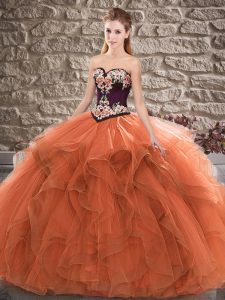 Orange Sleeveless Floor Length Beading and Embroidery Lace Up 15th Birthday Dress