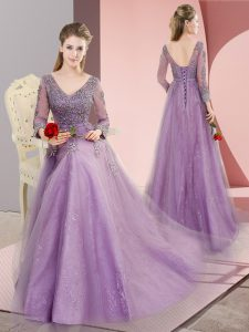 Eye-catching V-neck Long Sleeves Sweep Train Lace Up Prom Evening Gown Lavender Tulle