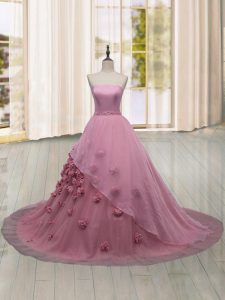 Stylish Ball Gowns Sleeveless Pink Sweet 16 Dresses Brush Train Lace Up