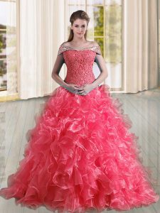 Fantastic Coral Red Organza Lace Up Off The Shoulder Sleeveless Sweet 16 Quinceanera Dress Sweep Train Beading and Lace and Ruffles