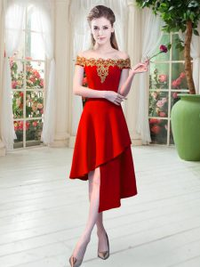 Discount Red Homecoming Dress Prom and Party with Appliques Off The Shoulder Sleeveless Zipper