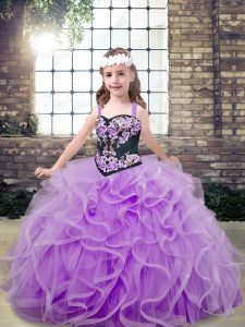 Tulle Sleeveless Floor Length Kids Formal Wear and Embroidery and Ruffles