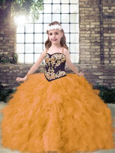 Latest Gold Sleeveless Tulle Lace Up Girls Pageant Dresses for Party and Wedding Party