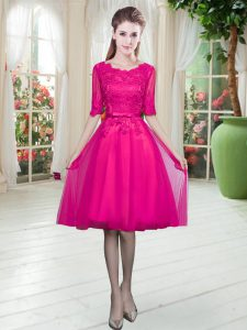 Custom Made Half Sleeves Knee Length Lace Lace Up Homecoming Dress with Fuchsia