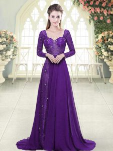 Top Selling Backless Prom Party Dress Eggplant Purple for Prom and Party with Beading and Lace Sweep Train