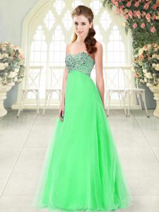 Extravagant Green A-line Sweetheart Sleeveless Tulle Floor Length Lace Up Beading