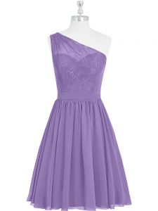 Fashionable Lavender Sleeveless Knee Length Lace Side Zipper Evening Dress