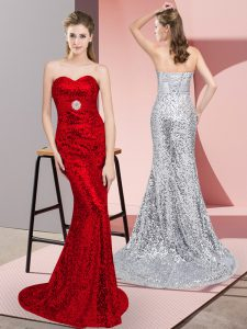 Great Red Sequined Lace Up Sweetheart Sleeveless Dress for Prom Sweep Train Belt