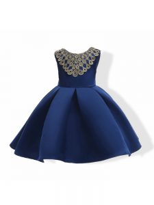 Navy Blue Satin Zipper Scoop Sleeveless Mini Length Little Girls Pageant Dress Appliques and Bowknot