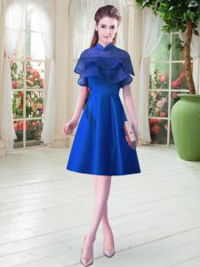 Lovely Knee Length Royal Blue Prom Evening Gown Satin Cap Sleeves Ruffled Layers