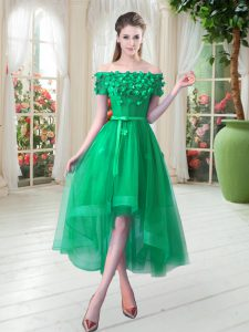 Admirable Green Off The Shoulder Lace Up Appliques Short Sleeves