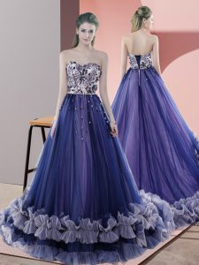 Beauteous Sweetheart Sleeveless Tulle Homecoming Dress Beading Sweep Train Lace Up