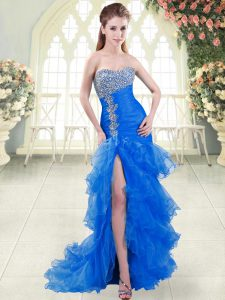 Blue Prom Party Dress Organza Sweep Train Sleeveless Beading and Ruffled Layers