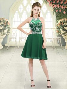 Affordable Dark Green Prom Gown Prom and Party and Military Ball with Beading Halter Top Sleeveless Zipper