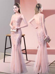 Custom Made Floor Length Backless Pink for Prom and Party with Sequins