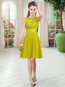 Low Price Gold Satin Zipper Scalloped Sleeveless Knee Length Evening Dress Lace