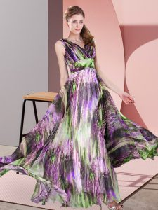Trendy Multi-color Dress for Prom Prom and Party with Pattern V-neck Sleeveless Lace Up