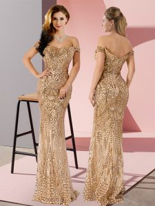 Gold Sequined Zipper Off The Shoulder Sleeveless Floor Length Prom Party Dress Ruching