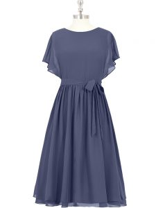 Enchanting Blue A-line Scoop Short Sleeves Chiffon Knee Length Zipper Bowknot Dress for Prom