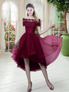 Burgundy Off The Shoulder Lace Up Lace Prom Gown Short Sleeves