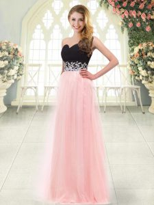 Smart Baby Pink Zipper Sweetheart Appliques Homecoming Dress Tulle Sleeveless