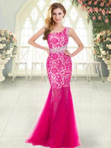 Inexpensive Hot Pink Mermaid Beading and Lace Dress for Prom Zipper Tulle Sleeveless Floor Length
