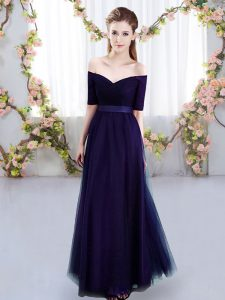 Inexpensive Short Sleeves Floor Length Ruching Lace Up Damas Dress with Purple