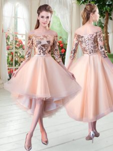 Fitting Peach Off The Shoulder Lace Up Sequins Homecoming Dress 3 4 Length Sleeve