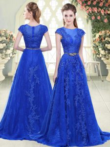 Hot Selling Blue Tulle Zipper Evening Dresses Cap Sleeves Sweep Train Lace and Appliques