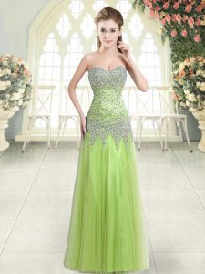 Yellow Green Sleeveless Tulle Zipper Evening Dress for Prom and Party