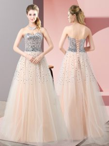 Comfortable Peach Tulle Lace Up Sweetheart Sleeveless Floor Length Evening Dress Beading