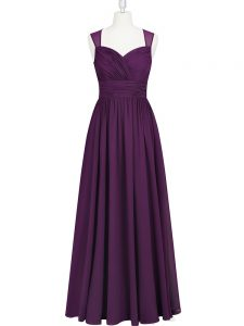 Shining Straps Sleeveless Zipper Prom Evening Gown Eggplant Purple Chiffon