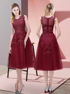 Tea Length A-line Sleeveless Burgundy Prom Dresses Lace Up