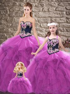 Purple Sleeveless Tulle Lace Up Quinceanera Gowns for Sweet 16 and Quinceanera