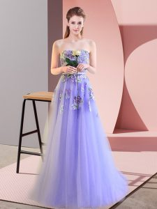 Charming Sweetheart Sleeveless Prom Dresses Floor Length Appliques Lavender Tulle