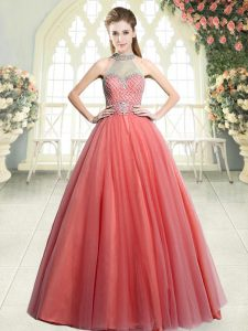 Exquisite Watermelon Red A-line Tulle Halter Top Sleeveless Beading Floor Length Zipper Prom Evening Gown