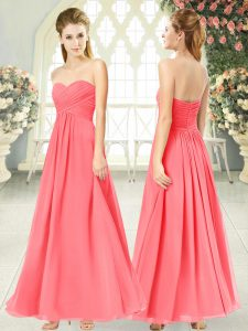 Spectacular Empire Dress for Prom Watermelon Red Sweetheart Chiffon Sleeveless Ankle Length Zipper