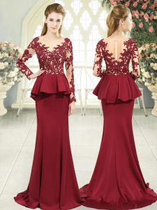 Latest Red Zipper Formal Dresses Lace and Appliques Long Sleeves Sweep Train