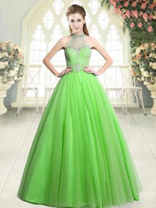 Elegant Sleeveless Zipper Floor Length Beading Prom Evening Gown