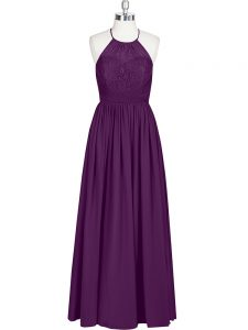 Extravagant Eggplant Purple Halter Top Neckline Lace Prom Dresses Sleeveless Zipper