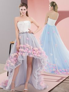 Grey Sleeveless Tulle Lace Up Prom Dress for Prom and Party