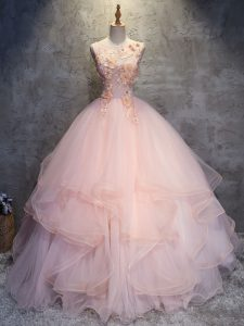 Best Scoop Sleeveless Lace Up Quinceanera Dresses Pink Tulle