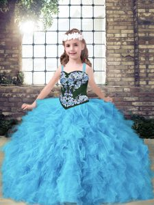 Fantastic Straps Sleeveless Lace Up Pageant Gowns For Girls Baby Blue Tulle
