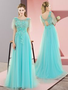 Fancy Sleeveless Tulle Sweep Train Backless Going Out Dresses in Aqua Blue with Appliques