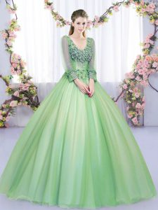 Tulle Long Sleeves Floor Length Quince Ball Gowns and Lace and Appliques
