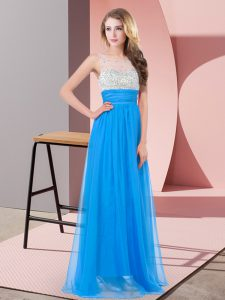 Sleeveless Chiffon Floor Length Side Zipper Prom Party Dress in Baby Blue with Beading