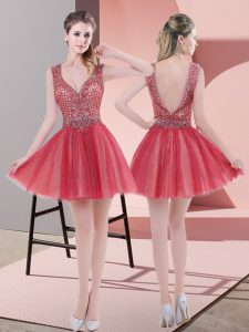 Great Watermelon Red Sleeveless Mini Length Beading Backless Prom Evening Gown